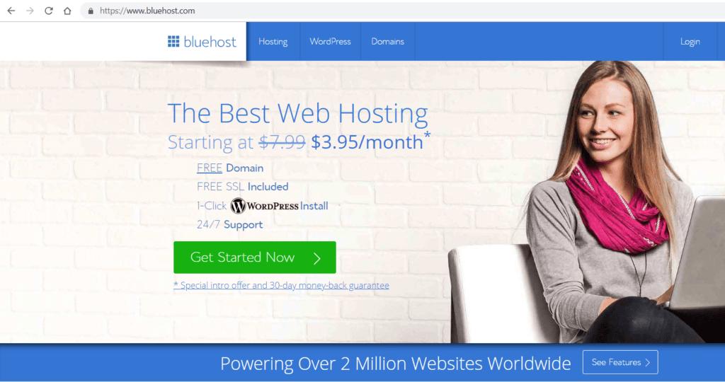 Bluehost Webpage