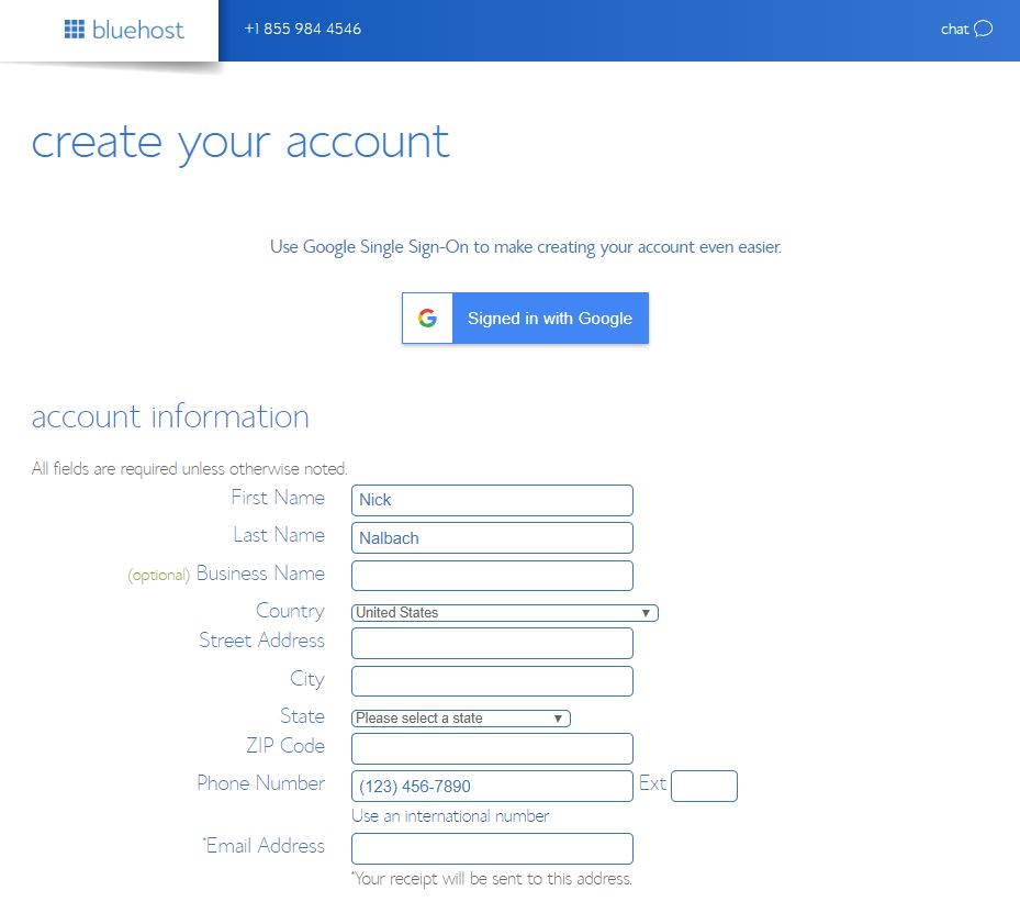 Bluehost Login/Create Your Acount Page.