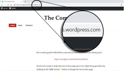 "Wordpress.com vs WordPress.org: url magnified to show text "".wordpress.com"" in the URL of a free WordPress.com website."
