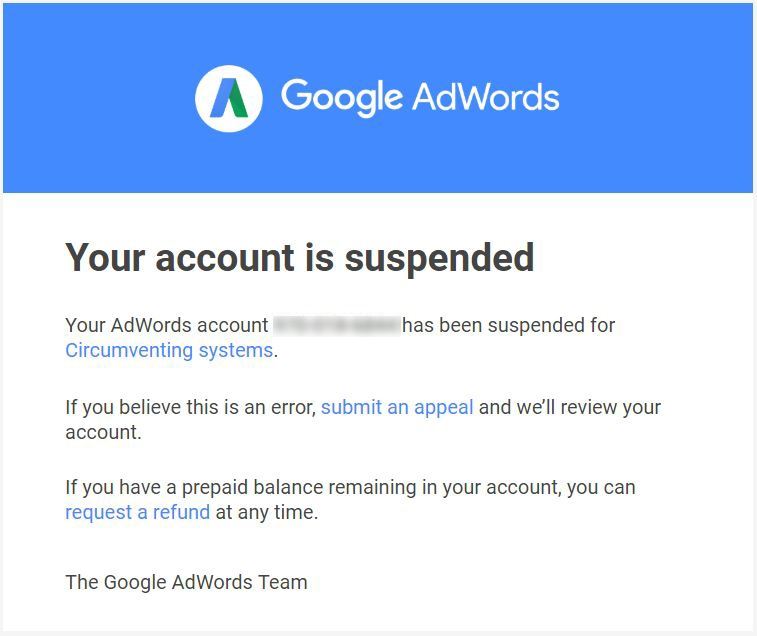 Google Adwords: Account suspended message