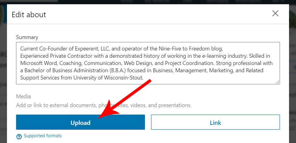"Arrow pointing to the ""Upload"" button. This is where you will add your resume."