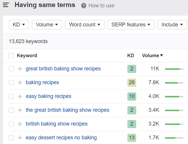 "Ahrefs ""Having Same Terms"" results for the keyword ""Baking Recipes."""