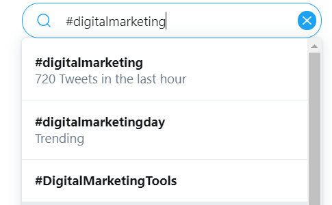 "Twitter Search of ""#digitalmarketing"" showing 720 tweets in the last hour."