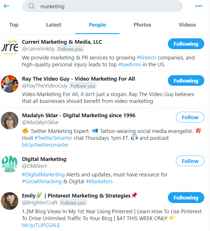 "Twitter Search for ""Marketing."" Looking for people to follow to grow your followers."