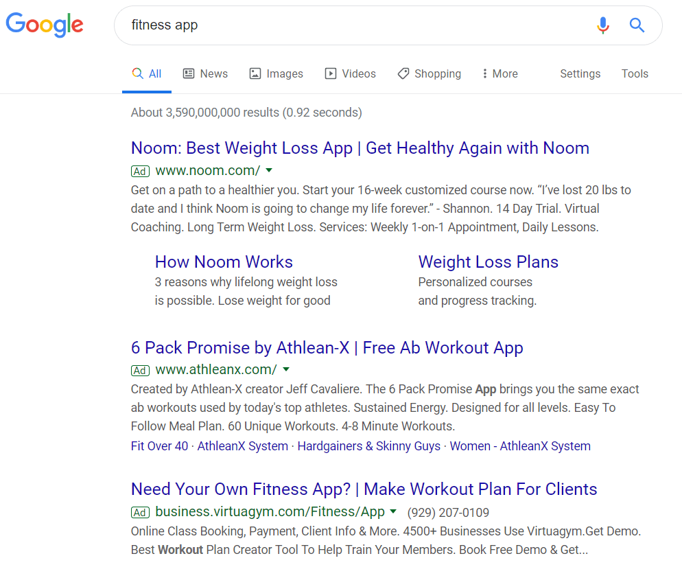 "Google search results for the keyword ""fitness app."""