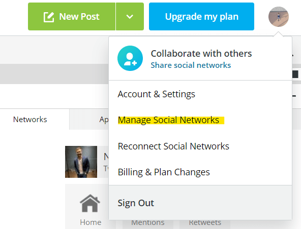 Your Hootsuite profile settings. Highlighted manage social networks to show the correct item to click on.