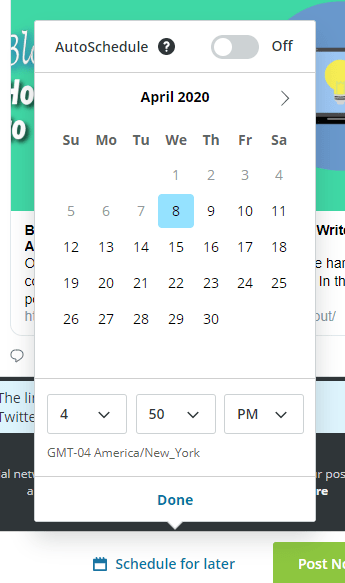 Calendar for picking date and time to schedule out a social media post.