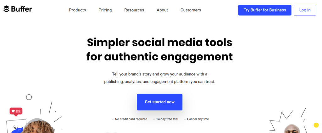 Buffer homepage.