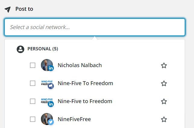 Selecting a social network to share to. Drop-down list of all connected social media networks on Hootsuite.