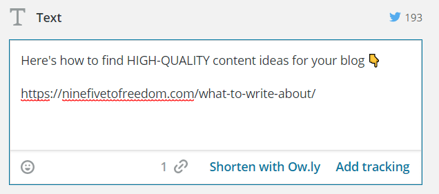 Text box to create a social media post in Hootsuite.