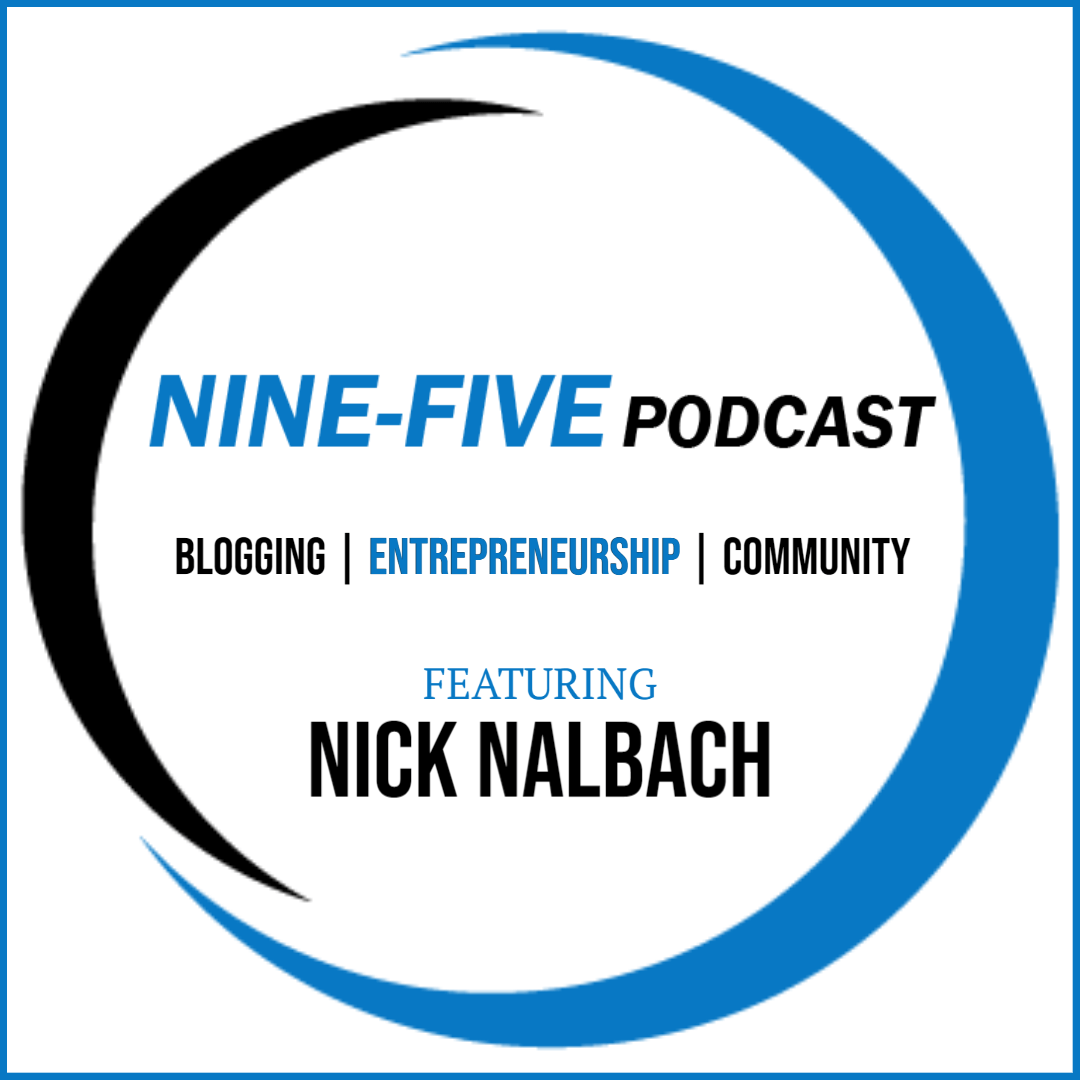 Nine-Five brand clock face with podcast title and host in the center