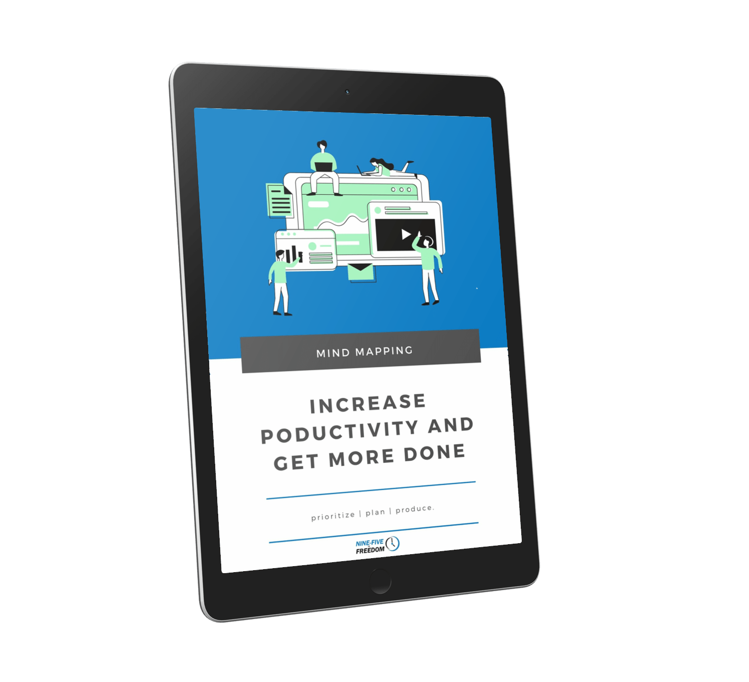 Mock-Up image of the productivity workbook on a tablet device