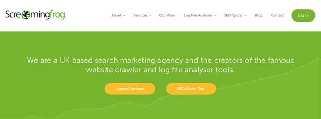 Screenshot of Screaming Frog's website homepage.