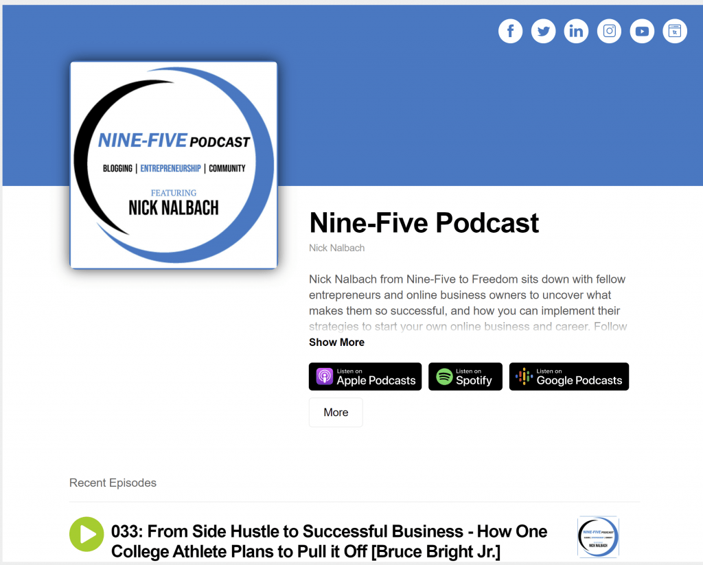 Example of a podcat website created by Buzzsprout. Shows the cover art of the podcast along with the latest episode of the Nine-Five Podcast.
